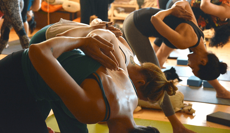 Reverse prayer position for yoga fitness classes at the Kirkby Community Centre