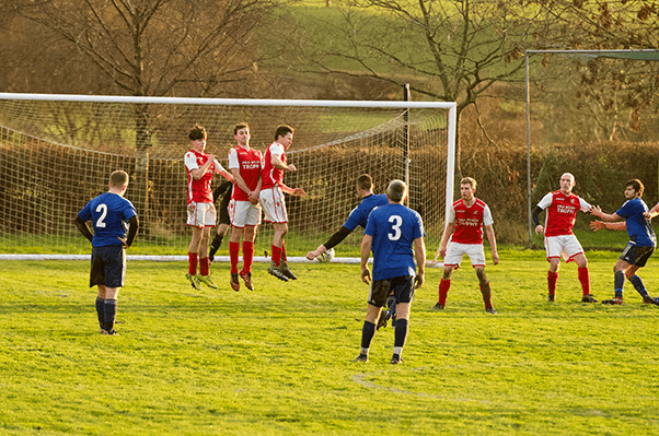 Kirkby in Furness Football club defending the goal during a penatly