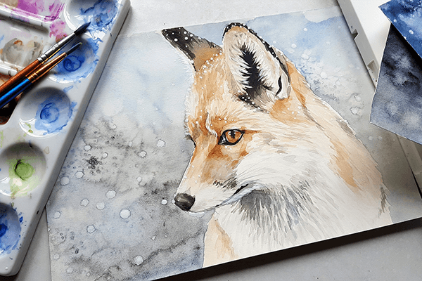 Watercolour painting of a fox from the Kirkby Art Group