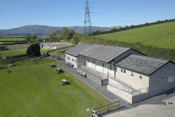 Kirkby Community Centre. Photograph of the centre back looking towards Black Combe
