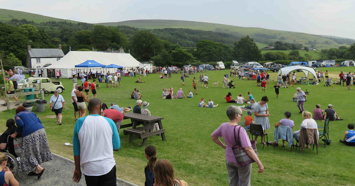 Crowds on the playing fields for the Kirkby Gala.